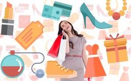 Złożony wizerunek szczęśliwa brunetka z torba na zakupy na telefonie Obrazy Royalty Free