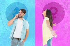 Złożony wizerunek szczęśliwa przypadkowa kobieta rozprzestrzenia ona ręki obrazy stock