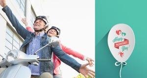 Złożony wizerunek szczęśliwa starsza para jedzie moped Zdjęcie Stock