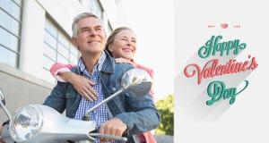 Złożony wizerunek szczęśliwa starsza para jedzie moped Zdjęcia Royalty Free