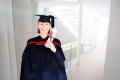 Złożony wizerunek szczęśliwy atrakcyjny absolwent Obraz Stock