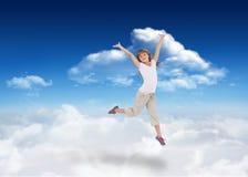 Złożony wizerunek szczęśliwy dziewczyny doskakiwanie Obrazy Stock