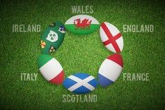 Złożony wizerunek sześć narodu rugby piłek Fotografia Stock