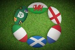 Złożony wizerunek sześć narodu rugby piłek Zdjęcie Royalty Free