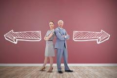 Złożony wizerunek trwanie poważny biznesmen popierać z kobietą z powrotem Obrazy Stock