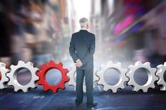 Złożony wizerunek tylni widok dojrzały biznesmena pozować Zdjęcie Stock