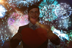 Złożony wizerunek uśmiecha się serce kartę i trzyma geeky biznesmen Obrazy Stock