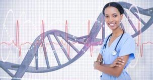 Złożony wizerunek uśmiechnięta lekarka z stetoskopem Obraz Stock