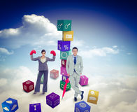 Złożony wizerunek uśmiechnięty biznesmen z parasolem Fotografia Stock