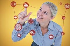 Złożony wizerunek uśmiechnięty bizneswomanu wskazywać Fotografia Royalty Free