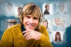 Złożony wizerunek uśmiechnięty modnisia biznesmen używa słuchawki Obraz Royalty Free