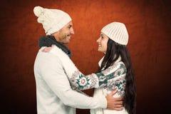 Złożony wizerunek uśmiechnięty pary przytulenie, patrzeć each inny i Obrazy Royalty Free