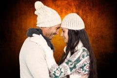 Złożony wizerunek uśmiechnięty pary przytulenie, patrzeć each inny i Zdjęcia Royalty Free