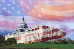 Złożony wizerunek U S Capitol i flaga amerykańska zdjęcia royalty free