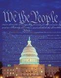 Złożony wizerunek U S Capitol i U S konstytucja zdjęcie royalty free