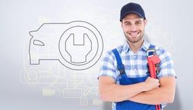 Złożony wizerunek ufny młody męski repairman trzyma nastawczego spanner Zdjęcia Stock