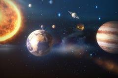 Złożony wizerunek układ słoneczny przeciw białemu tłu 3d Zdjęcia Stock