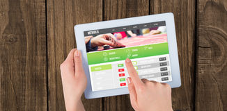 Złożony wizerunek uprawiać hazard app ekran fotografia royalty free
