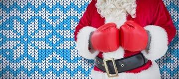 Złożony wizerunek w połowie sekcja Santa z bokserskimi rękawiczkami obraz stock