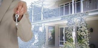 Złożony wizerunek w połowie sekcja wykonawczy pokazuje nowego domu klucz obrazy royalty free