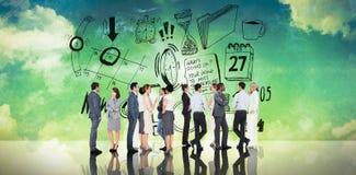 Złożony wizerunek wiele ludzie biznesu stoi w linii Zdjęcie Stock