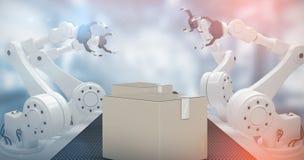 Złożony wizerunek wysokiego kąta widok robot ręka 3d Obraz Stock