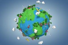 Złożony wizerunek złożony wizerunek kuli ziemskiej ikona 3d royalty ilustracja