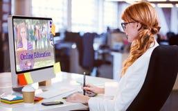 Złożony wizerunek złożony wizerunek ucznie dla online kursów zdjęcia royalty free