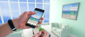 Złożony wizerunek zakończenie mężczyzna mienia telefon komórkowy Zdjęcie Stock