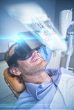 Złożony wizerunek zakończenie up promieniowanie rentgenowskie ludzka czaszka Zdjęcie Royalty Free