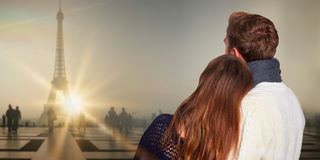 Złożony wizerunek zakończenie w górę tylni widoku romantyczna para zdjęcia royalty free