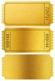 Złociści biletów karcze odizolowywający na bielu z ścinek ścieżką Obrazy Royalty Free