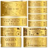 złociści bilety Zdjęcia Royalty Free