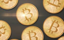 Złociści bitcoins nad szarym tłem od wierzchołka Zdjęcia Royalty Free