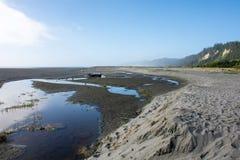 Złociści blefy wyrzucać na brzeg blisko złotej godziny, gdy mgła zaczyna staczać się wewnątrz na Północnego Kalifornia linii brze obrazy royalty free