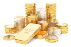 Złociści ingots i euro monety, 3D rendering Obraz Stock