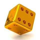 Złociści kostka do gry 3d Obraz Stock