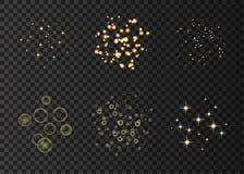 Złociści neonowi okręgi i gwiazd świateł skutki ilustracji