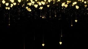 Złociści olśniewający serca błyskają na czarnym tle z tekstem Walentynka dnia pętli wakacyjna abstrakcjonistyczna animacja ilustracja wektor