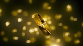 Złociści pierścionki Unosi się Przeciw Błyskotliwemu Bokeh tłu ilustracji
