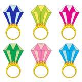 Złociści pierścionki z diament ustawiającą wektorową ilustracją Zdjęcia Stock