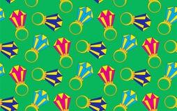 Złociści pierścionki z diamentami na zielonego tła wektoru bezszwowym wzorze Zdjęcie Royalty Free