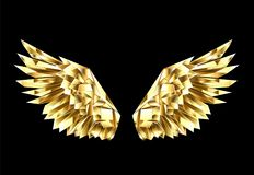 Złociści poligonalni skrzydła na czarnym tle royalty ilustracja