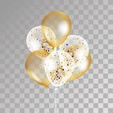 Złociści przejrzyści balony na tle ilustracji