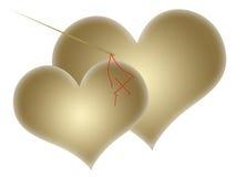 złociści serca dwa Obrazy Royalty Free