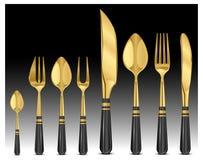 złociści tablewares Fotografia Royalty Free