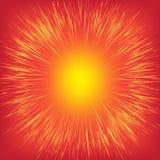 Złoci, żółci, błyszczący promieniowi promienie, przyśpieszają linie na jaskrawym czerwonym tle jak słońce, ilustracji