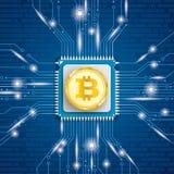 Złoci Bitcoin mikroukładu procesoru światła royalty ilustracja