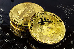Złoci bitcoins na czarnym tła zbliżeniu Cryptocurrency wirtualny pieniądze Zdjęcie Royalty Free