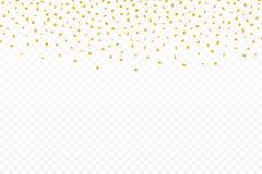 Złoci confetti Świąteczny tło z złotymi confetti Spada confetti odizolowywający na przejrzystym tle ilustracji